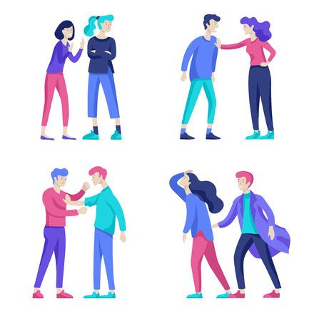 Vektormenschen in schlechten Emotionen, Charakter in Konflikt, wütend oder müde und in Stress. Aggressive Menschen schreien sich gegenseitig an. Bunte flache Konzeptillustration.