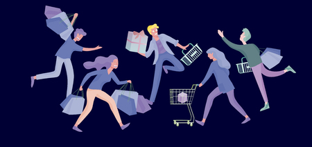 Collection of people carrying shopping bags with purchases. Madness on sale, line of crazy Men and women taking part in seasonal sale at store, shop, mall. Cartoon characters concept for black friday.