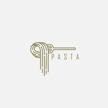Vector icon and logo for italian pasta or noodles. Editable outline stroke size. Line flat contour, thin and linear design. Simple icons. Concept illustration. Sign, symbol, element. Ilustração