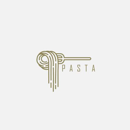 Vectorpictogram en logo voor Italiaanse pasta of noedels. Bewerkbare omtreklijngrootte. Lijn platte contour, dun en lineair ontwerp. Eenvoudige pictogrammen. Concept illustratie. Teken, symbool, element. Logo