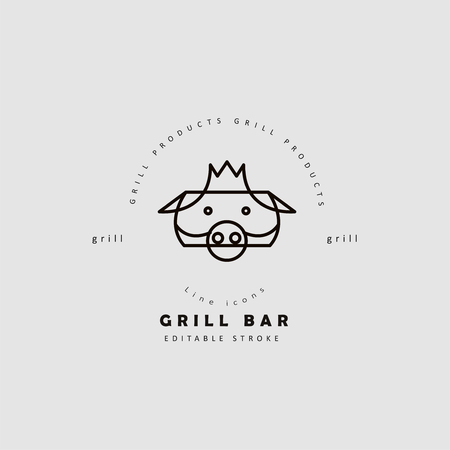 Vector icon and logo for meat and grill cafe or steak restaurant. Editable outline stroke size. Line flat contour, thin and linear design. Simple icons. Concept illustration. Sign, symbol, element. Archivio Fotografico - 114951801