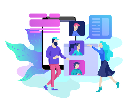 Concept Human Resources and selection candidates, banner, presentation, social media, documents. Recruitment for web page. Vector illustration filling out resumes, hiring employees Illustration