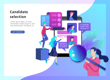 Concept Landing page template Human Resources and selection candidates, banner, presentation, social media. Recruitment for web page. Vector illustration filling out resumes, hiring employees
