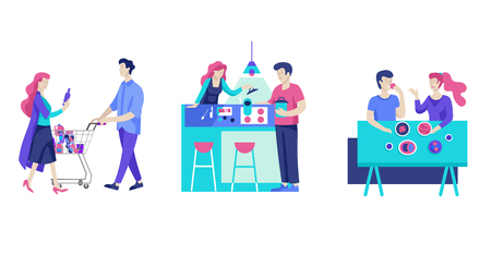 Everyday routine scenes and spend time together of young romantic couple. Pair of boy and girl cooking food and eating. Vector people character. Editable outline stroke size. Colorful flat concept illustration.