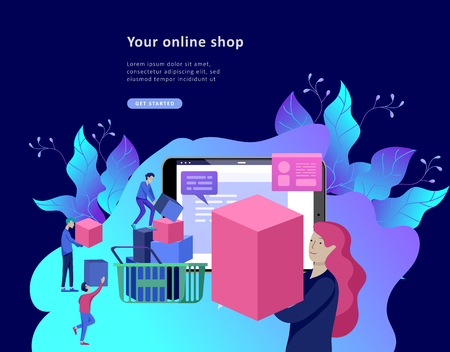 Landing page template of Online Shopping people and mobile payments. Vector illustration pos terminal confirms the payment using a smartphone, Mobile payment, online banking. Illustration