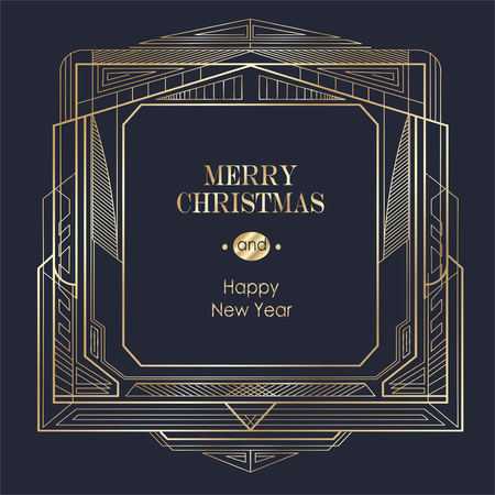 Elegant Christmas and happy New Year Background with Gold Shining decoration. Vector illustration Stock Vector - 126353527