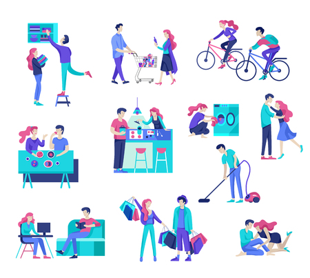 Everyday routine scenes and spend time together of young romantic couple. Pair of boy and girl cleaning up house, cooking food, washing clothes. Vector people character. Editable outline stroke size.