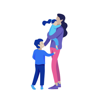 Family spend time together, happy parents with children. Vector people character. Colorful flat concept illustration.