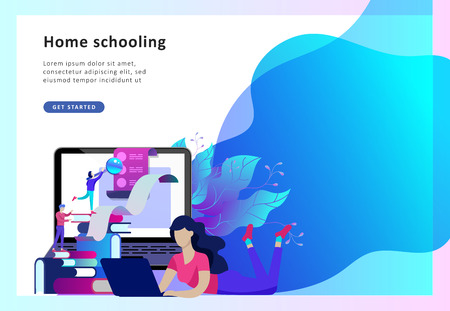 Concept Landing page template Education people, Internet studying, online training, online book, tutorials, e-learning for social media, distance education, documents, cards, posters