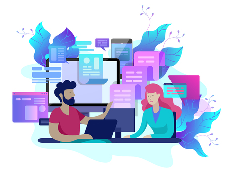 Concept Landing page template customer service, male hotline operator advises client, online global technical support, customer and operator Ilustração