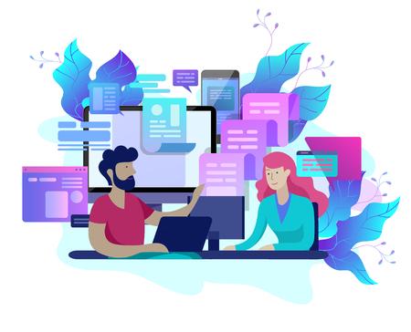 Service client de modèle de page de destination de concept, l'opérateur de hotline masculin conseille le client, le support technique mondial en ligne, le client et l'opérateur