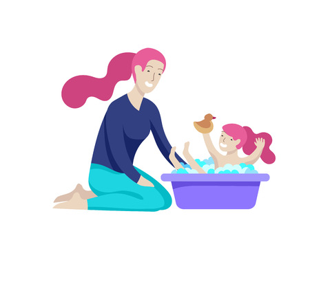 Vector people character. Mother and daughter spending time together. Colorful flat concept illustration. Vector Illustration
