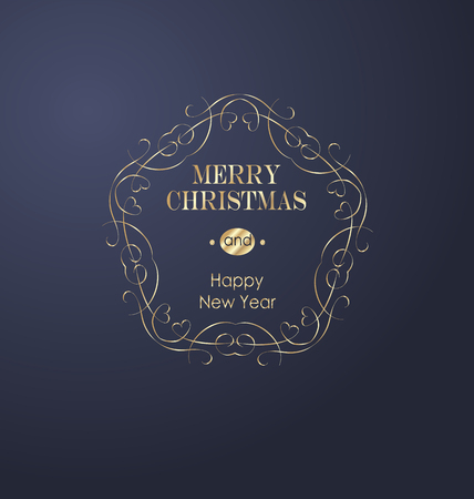 Elegant Christmas and happy New Year Background with Gold Shining decoration. Vector illustration Stock Vector - 126353623