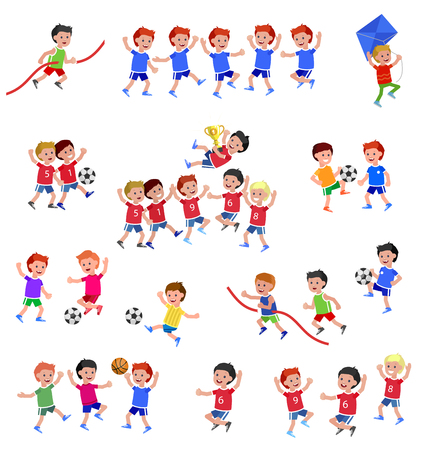 Cute vector character child playing football, basketball, with a kite, runs. Cheerful Happy boy kid illustration Illustration