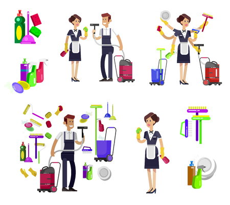 Poster design for cleaning service and cleaning supplies. Vector detailed character professional housekeeper, kit icons