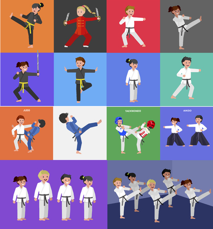 Cute vector character kid Shaolin monk. Illustration for martial art kung fu poster. Kid wearing kimono and training kung fu. Child take kung fu fighting pose Illustration