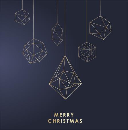 Elegant Christmas and happy New Year Background with Gold Shining decoration. Vector illustration Illustration