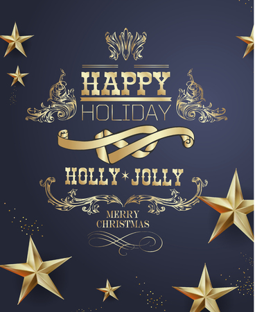 Elegant Christmas and happy New Year Background with Gold Shining decoration. Vector illustration Stock Vector - 126353943