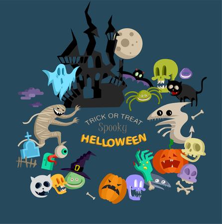 Icono de vector y elemento para Helloween. tarjeta de felicitación para el icono del diseño de Happy Halloween. Ilustración de concepto. Signo y símbolo, elemento.