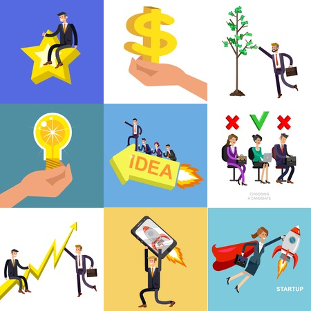 Vector detailed character business investor has the money gains. Earnings have grown as a tree with dollars. Web concept Stock Vector - 126353961