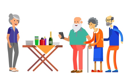 Happy seniors couple enjoying conversation guests or party. Vector illustration in flat style.