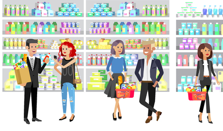 Concept banner for Shop. Vector character people in supermarket, cart, delivery, family shopping. Healthy eating and eco food Foto de archivo - 126353963