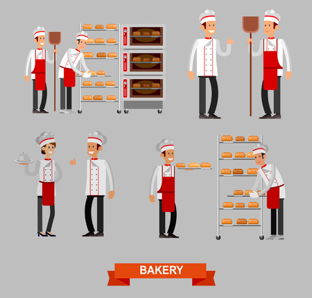 Vector detailed characters chef, Cook baker cooking bread, bakery interior with professional oven, flat design vector illustration