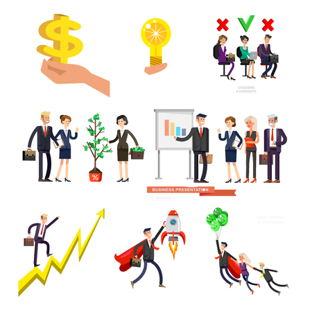 Vector detailed character business investor has the money gains. Earnings have grown as a tree with dollars. Web concept Vektorové ilustrace