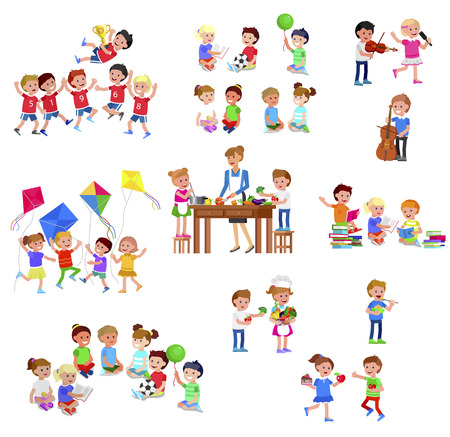 Cute vector child playing with ball, read book . Cheerful, happy kid illustration. Detailed character. Vector for Celebration children day, fun Stockfoto - 126353974