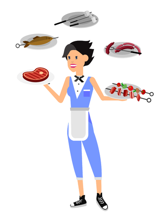 Vector character girl on picnic or Bbq party. Chef cooking steaks on grill.