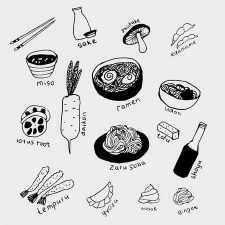 Collection of the different japanese food. Hand drawn line art set of the food icons Standard-Bild - 126353985