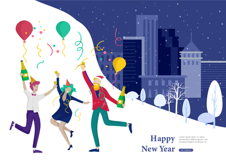 Landing page template or card winter Holidays corporate Party. Merry Christmas and Happy New Year Website with People Characters. Company of young friends or colleagues celebrates on Urban landscape Illustration