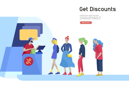 People queue in supermarket with cashier, where to buy concept of customer and shop assistant. Selling interaction, purchasing process. Creative landing page design template Ilustração