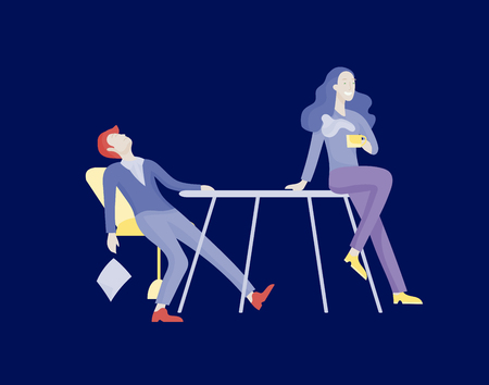Businessmen making handshake, business etiquette, merger concepts office workers, clerks or managers talking to each other, discussing, depressed Tired male and female office workers sitting, sleeping Stok Fotoğraf - 124770943