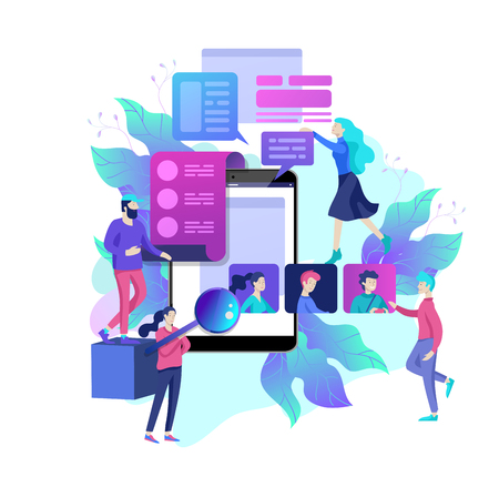 Concept Human Resources and selection candidates, banner, presentation, social media, documents. Recruitment for web page. Vector illustration filling out resumes, hiring employees Ilustracja