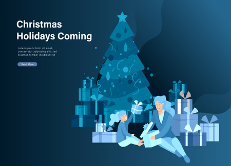 Landing page template greeting card winter Holidays. Merry Christmas and Happy New Year Website. People Characters family give present, unpack gift on background of christmas tree