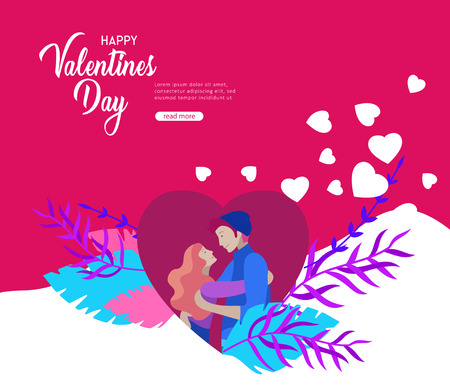 Happy Valentines day Landing page template with couple in love isolated in heart on a colorful abstract background, typography poster elements, festive composition design, vector illustration