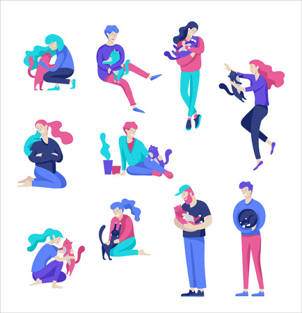 Vector character. Happy people with their pets, cat love their owners. Colorful flat concept illustration. Çizim