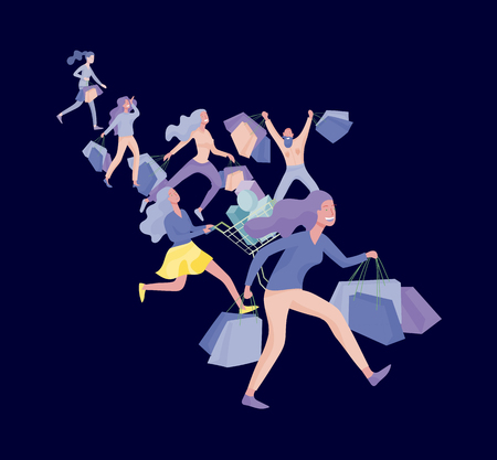 Collection of people carrying shopping bags with purchases. Madness on sale, line of crazy Men and women taking part in seasonal sale at store, shop, mall. Cartoon characters concept for black friday. Stock Vector - 124770953