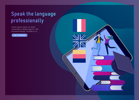 Landing page templates for Online language courses, distance education, training. Language Learning Interface and Teaching Concept. Education Concept, training young people. Internet students Фото со стока - 124770958