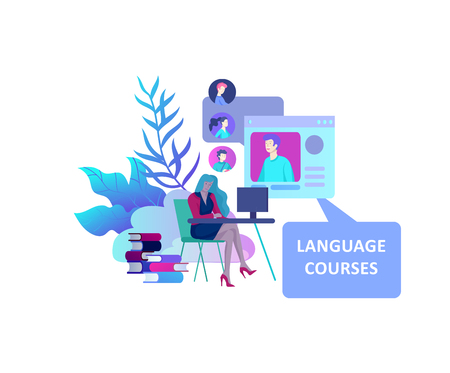 Online language courses, distance education, training. Language Learning Interface and Teaching Concept. Education Concept, training young people. Internet students Ilustrace