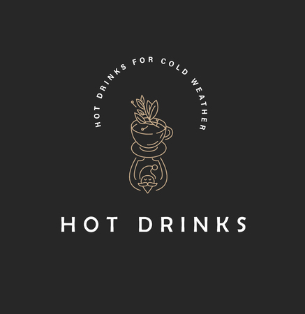 Vector icon and logo hot drinks for cold weather, merry Christmas and Happy New Year . Editable outline stroke size. Line flat contour, thin and linear design. Simple icons. Concept illustration. Sign, symbol, element. Ilustração