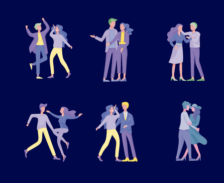 Collection of pairs of dancers. Men and women performing dance at school, studio. Male and female characters. Group of young happy dancing people. Smiling young men and women enjoying dance party Illustration