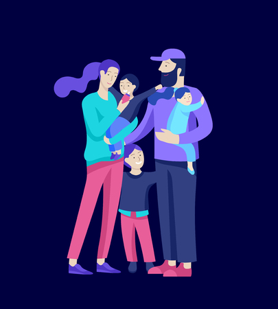 Family spend time together, happy parents with children. Vector people character. Editable outline stroke size. Colorful flat concept illustration. Banque d'images - 124770974