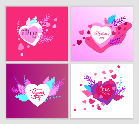 Happy Valentines day cards template with in love isolated in heart on a colorful abstract background, typography poster elements, festive composition design, vector illustration Illustration