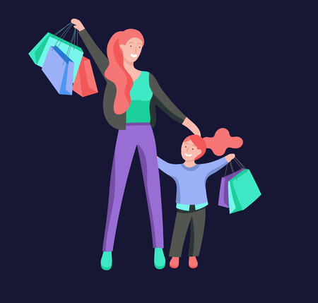 Vector people character. Mother and daughter spending time together. Colorful flat concept illustration. Çizim