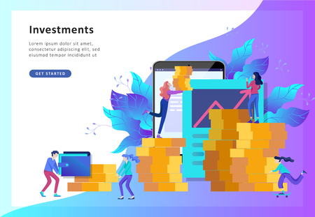 Concept Landing page template. Financial investments, Investment in innovation, marketing, analysis, banner, presentation, social media. Vector illustration guarantee of security financial Illustration