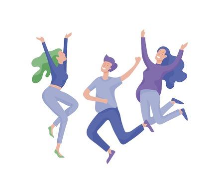 Personaje de salto en varias poses. Felices mujeres jóvenes positivas regocijo, felicidad, libertad, concepto de gente de movimiento. Ilustración de vector