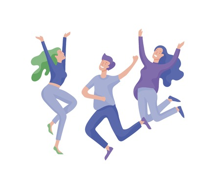Springend personage in verschillende poses. Gelukkig positieve jonge vrouwen vreugde, geluk, vrijheid, beweging mensen concept. Vector Illustratie