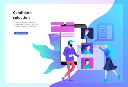 Concept Human Resources and selection candidates, banner, presentation, social media, documents. Recruitment for web page. Vector illustration filling out resumes, hiring employees Çizim